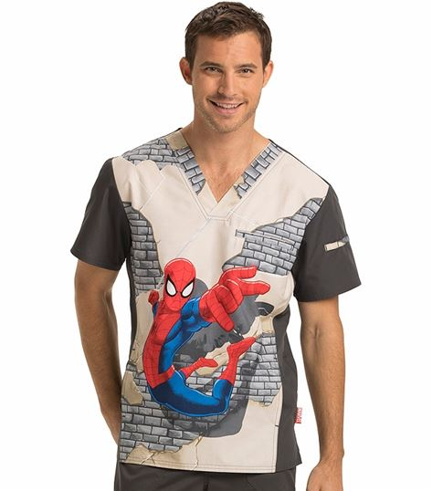 Disney Tooniforms Men's Marvel V-Neck Scrub Top-TF700