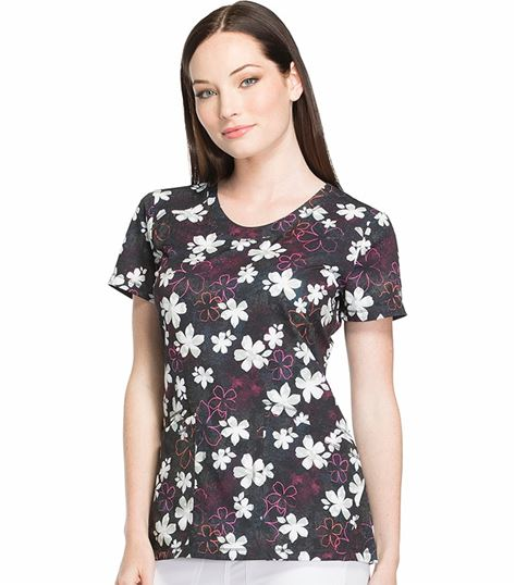 Dickies Dynamix Women's Floral Print V-Neck Stretch Scrub Top-DK723