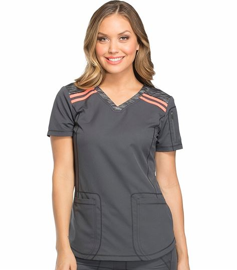 Dickies Dynamix Women's Knit Shoulder Panel V-Neck Scrub Top-DK740