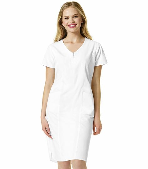 WonderWink Origins Women's Zip Front V-Neck Scrub Dress-9006