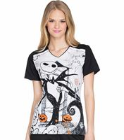 Cherokee Tooniforms Disney Women's Halloween Printed Scrub Top-TF630