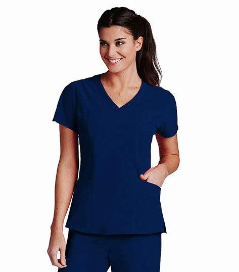 Barco One Women's Solid Perforated Fabric Scrub Top-5105