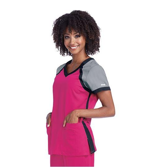 Grey's Anatomy Active Women's Color Block V-Neck Scrub Top-41435
