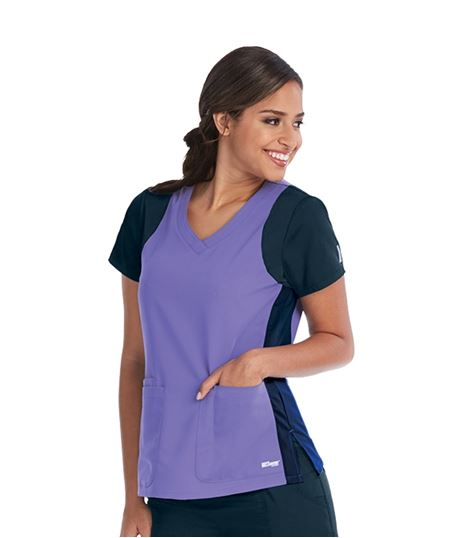 Grey's Anatomy Women's Color Block Racer Scrub Top-41465