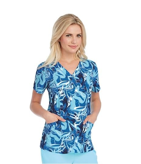 Barco One Women's Printed V-Neck Scrub Top-5107