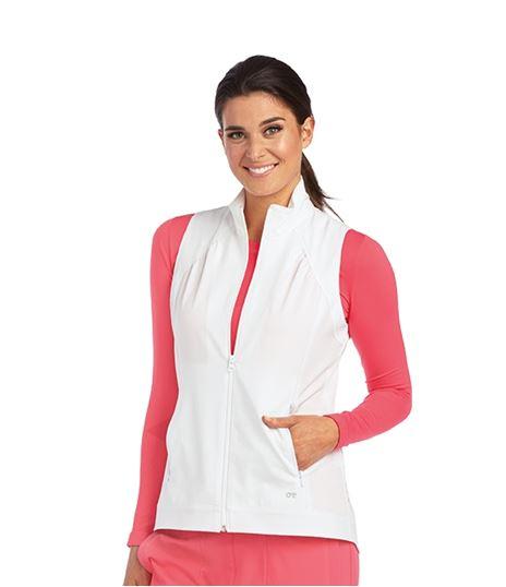 Barco One Women's Solid Zip Up Scrub Vest-5406