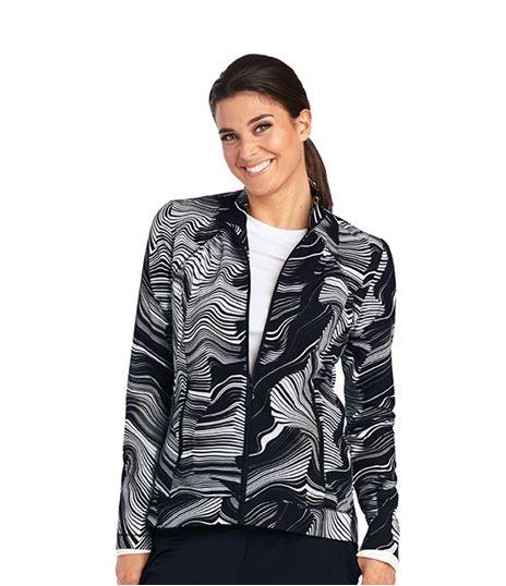 Barco One Women's Zip Up Origami Print Warm Up Scrub Jacket-5408