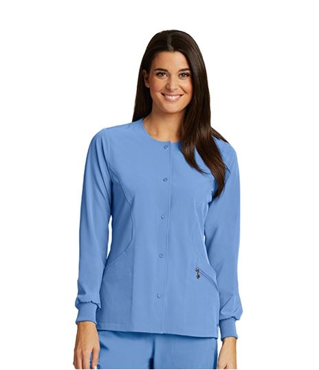 Barco One Women's Round Neck Snap Front Warm Up Scrub Jacket-5409