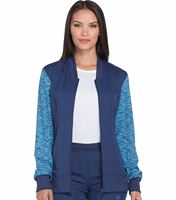 Dickies Dynamix Women's Zip Up Contrasting Sleeves Warm-Up Scrub Jacket-DK340