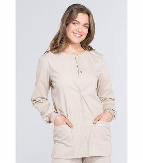 Cherokee Workwear Professionals Women's Snap Front Warm-Up Scrub Jacket-WW340