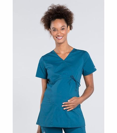 Cherokee Workwear Professionals Maternity Mock Wrap Scrub Top-WW685
