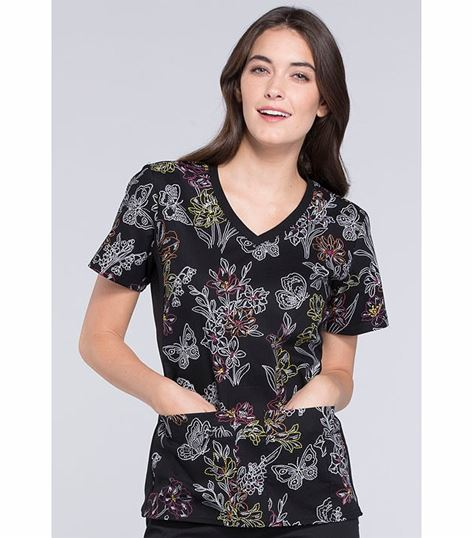 Cherokee Flexibles Women's V-Neck Printed Scrub Top-1912C