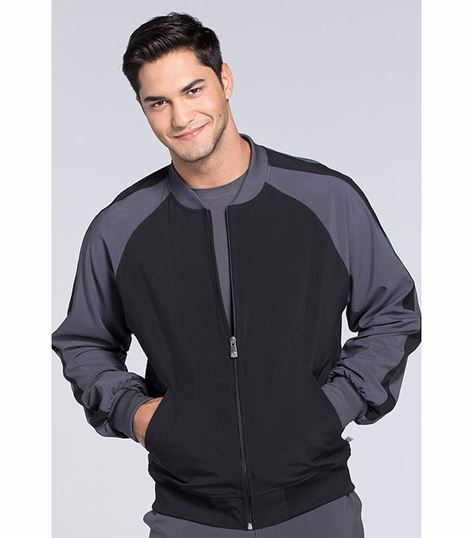 Cherokee Infinity Men's Colorblock Zip Up Warm-Up Scrub Jacket-CK330A