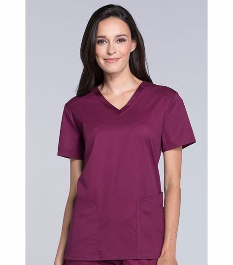 Cherokee Luxe Sport Women's Mesh Detailed V-Neck Scrub Top-CK670