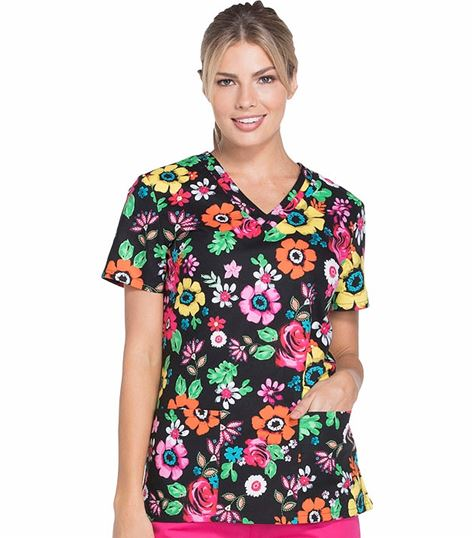Dickies EDS Women's Dental Themed V-Neck Scrub Top-DK708