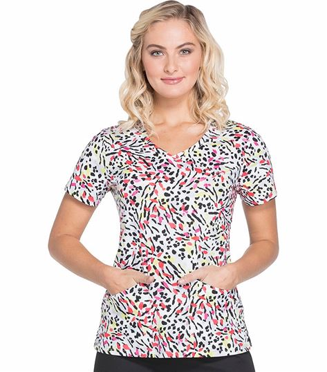 Dickies EDS Women's Leopard Print V-Neck Scrub Top-DK721