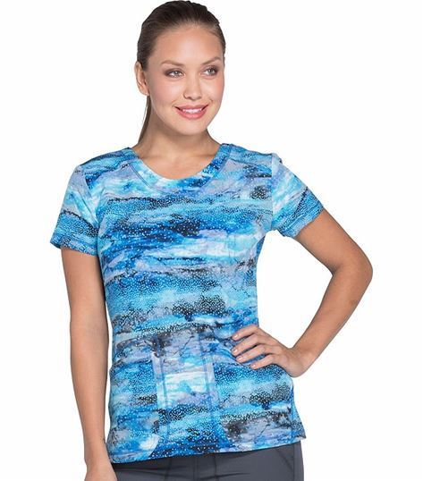 Dickies Dynamix Women's Print V-Neck Stretch Scrub Top-DK723