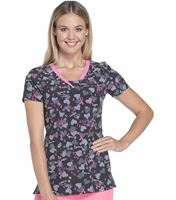 HeartSoul Women's V-Neck Print Scrub Top-HS600