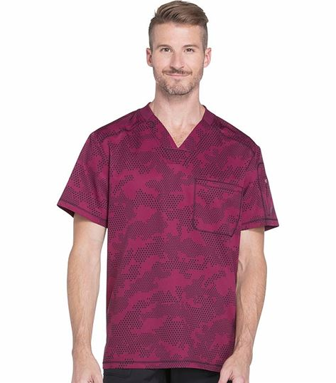 Dickies Dynamix Men's Printed  V-Neck Scrub Top-DK611