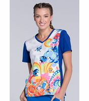 Disney Tooniforms Women's Knit Panel Scrub Top-TF627