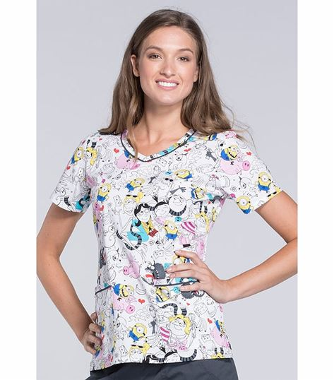 Tooniforms Disney Women's Frozen V-Neck Scrub Top-TF633