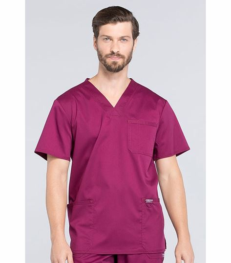 Cherokee Workwear Revolution Men's V-Neck Stretch Scrub Top-WW670