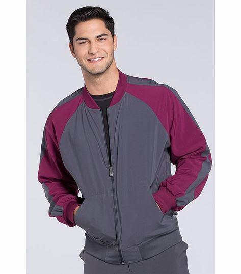 Cherokee Infinity Men's Colorblock Zip Up Warm-Up Scrub Jacket-CK330A