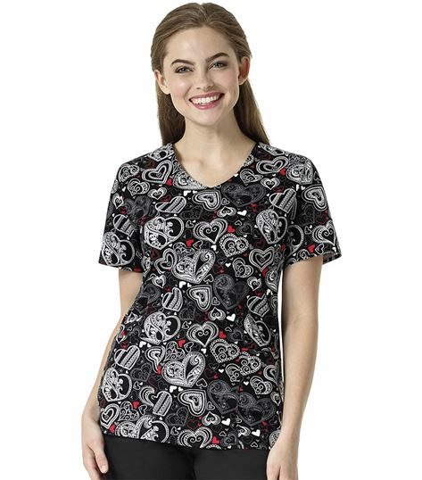 Wonderwink Zoe+Chloe Women's V-Neck Printed Scrub Shirt-Z12202