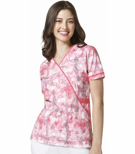 WonderWink WonderFLEX Mock Wrap Printed Scrub Top-6578