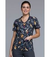 Cherokee Flexibles Women's V-Neck Print Scrub Top-CK611