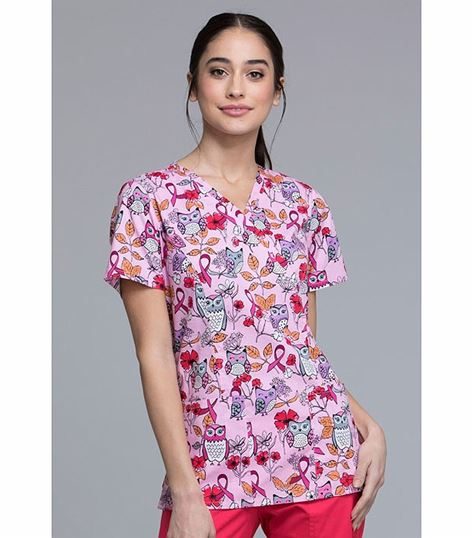 Cherokee Women's Mock Wrap Print Scrub Top-CK620