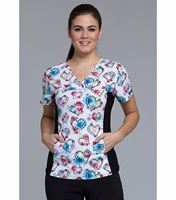Cherokee Women's V-Neck Stretch Panel Printed Top-CK626