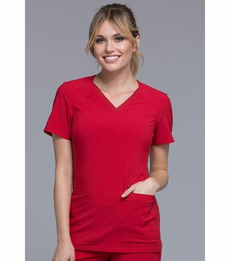 Cherokee Iflex Women's V-Neck Solid Knit Panel Scrub Top-CK605