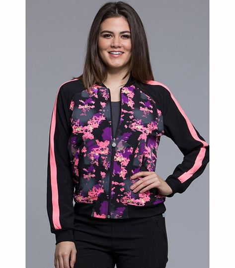 Cherokee Women's Zip Front Printed Warm Up Scrub Jacket-CK309