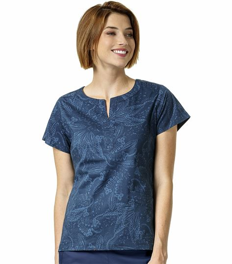 Vera Bradley Signature Paisley Printed Notch Neck Scrub Top-V6207