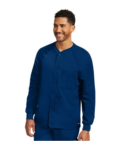 Grey's Anatomy Men's Snap Front Raglan Warm Up Scrub Jacket-0406