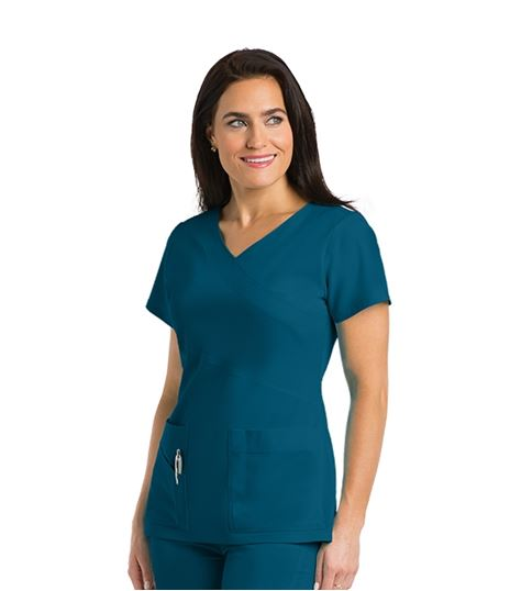Grey's Anatomy Women's Mock Wrap Solid Scrub Top-2130
