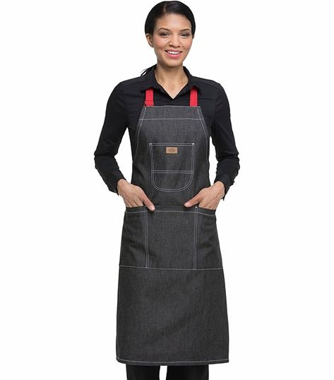 Dickies Chef Bib Apron With Red Straps DC592R