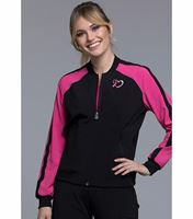 Cherokee Infinity Zip Front Breast Cancer Awareness Bomber Scrub Jacket-CK320A