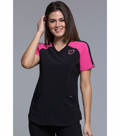 Cherokee Infinity Women's V-Neck Colorblock Scrub Top-CK740A