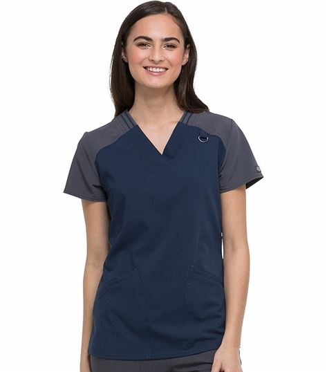Dickies Xtreme Stretch Women's Contrast V-Neck Scrub Top-DK655