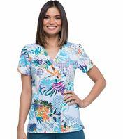 Dickies Women's Mock Wrap Fashion Print Scrub Top-DK714