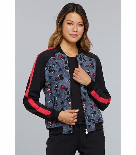 Cherokee Women's Zip Front Printed Warm Up Scrub Jacket-CK309