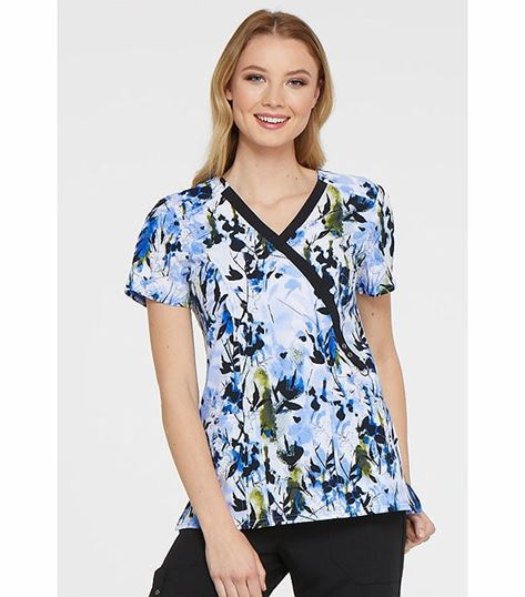 Dickies Women's Mock Wrap Fashion Print Scrub Top-DK714