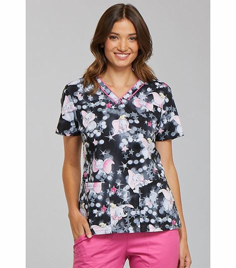 Tooniforms Disney Women's Printed V-Neck  Scrub Top-TF610