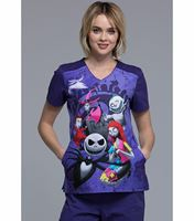 Tooniforms Disney Women's Winnie The Poo V-Neck Scrub Top-TF639