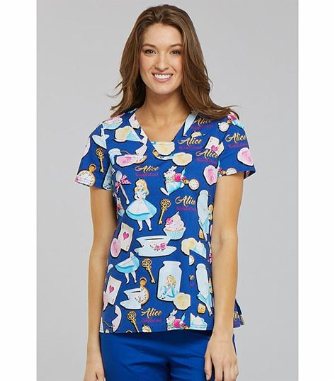 Tooniforms Disney Women's Snow White Valentine V-Neck Scrub Top-TF641