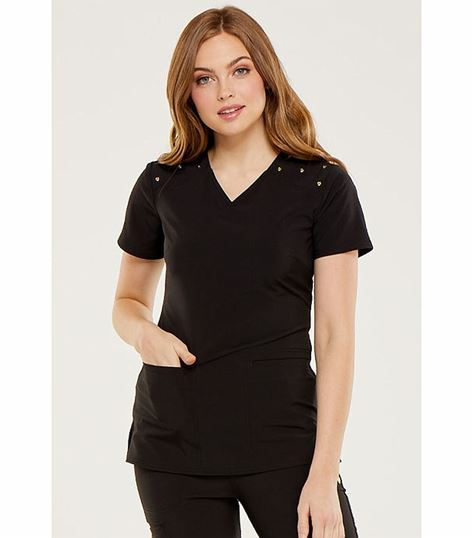 HeartSoul Women's Shoulder Detail V-Neck Scrub Top-HS675
