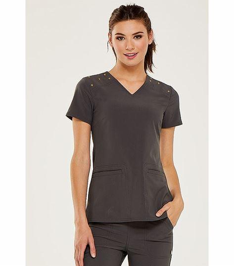 HeartSoul Women's Shoulder Detail V-Neck Scrub Top-HS675