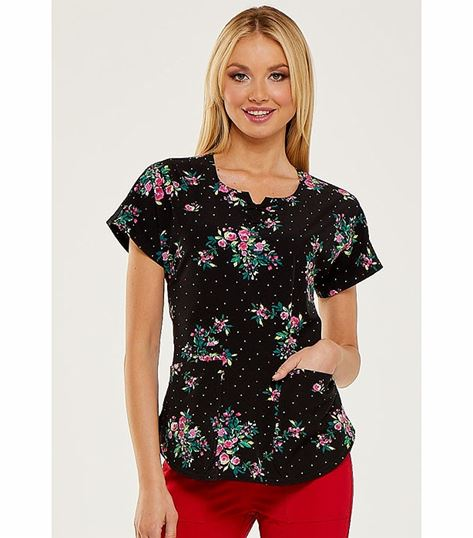 HeartSoul Women's Round Neck Printed Scrub Top-HS685